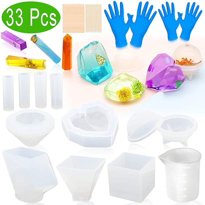 Resin Molds, ZALALOVA 33Pcs Silicone Molds for Resin Large Clear DIY Epoxy Resin Molds Include Cube Pyramid Sphere Diamond Stone Love Resin Casting Molds w/Pendants Measuring Cup Wood Sticks Gloves