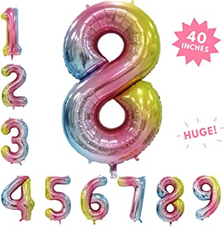 Rose&Wood 40 Inch Rainbow Color Huge Number Balloon, Gradient Number Balloon, Colorful Party Decoration, Birthday Arrangement Floating Balloon(Rainbow,Number 8)