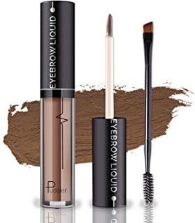 Waterproof Eyebrow Gel, Long Lasting Smudge-Proof Liquid Brow Makeup Tint, Brow Shaper with Mascara Primer Brush Wand Kit Mother's Day Gift (Color-Brown)