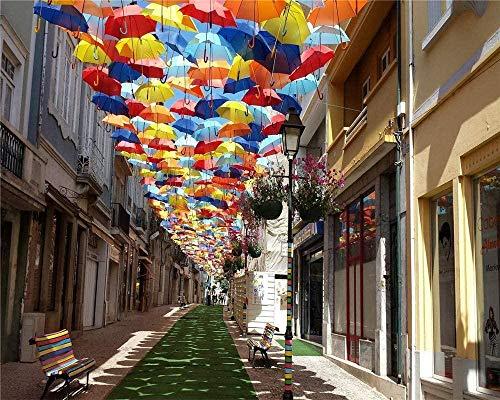 RHUARompecabezas de 1000 piezas Portugal Town Street Sombrillas para niños y adultos Juego de juguetes de madera Educativo