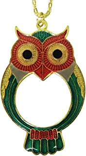 Evelots Pocket Pendant Necklace 5X Magnifier Owl Magnifying Glass