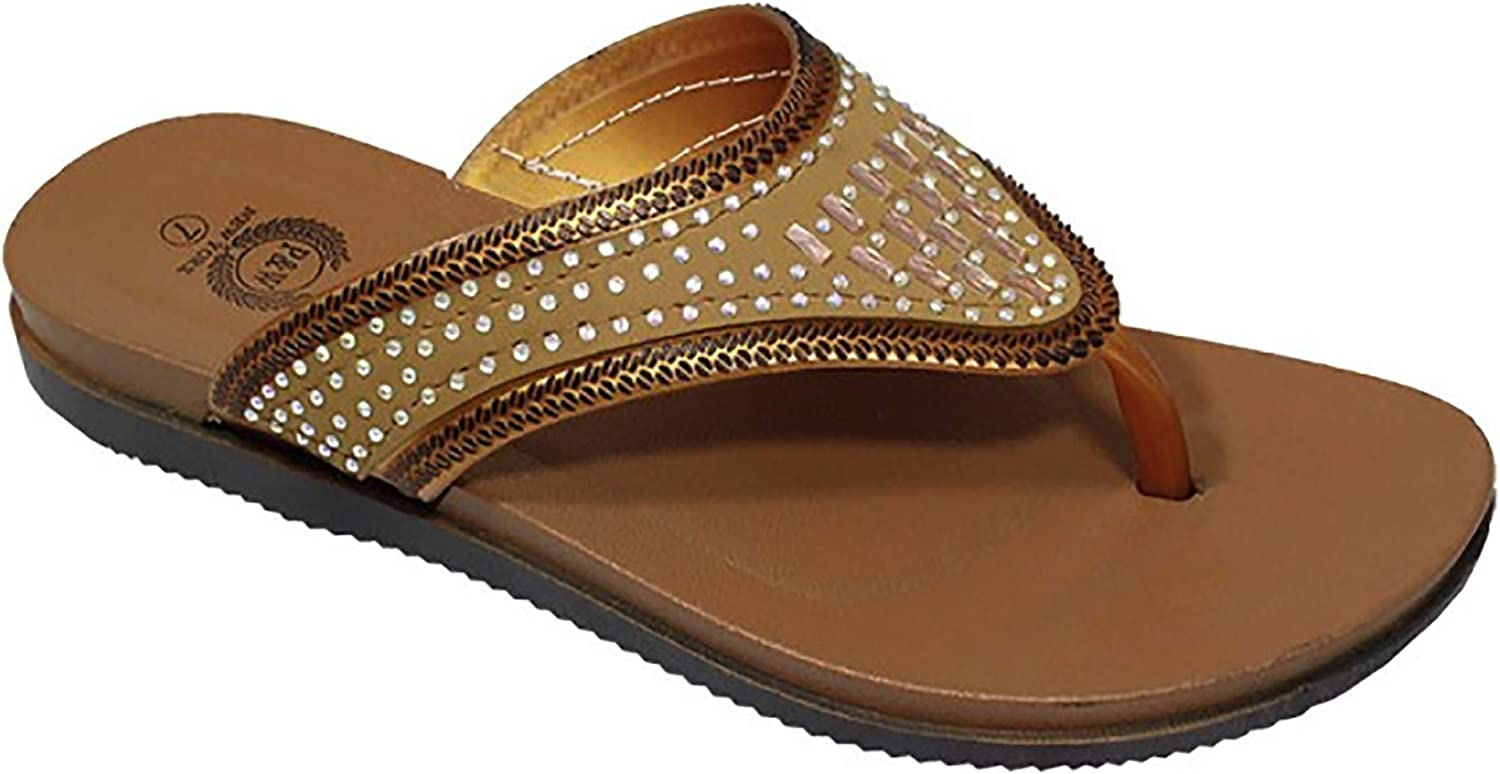 Babe Women's Fancy Rhinestone Jeweled Slip-on Flip-Flop Thong Sandals