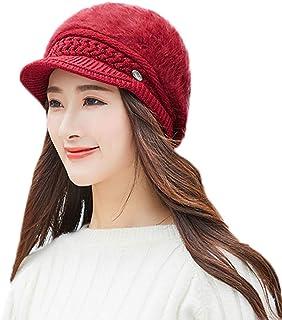Pervobs Women Winter Warm Floral Cap Beret Braided Baggy Knit Crochet Beanie  Hat Ski Cap eafe03edd441