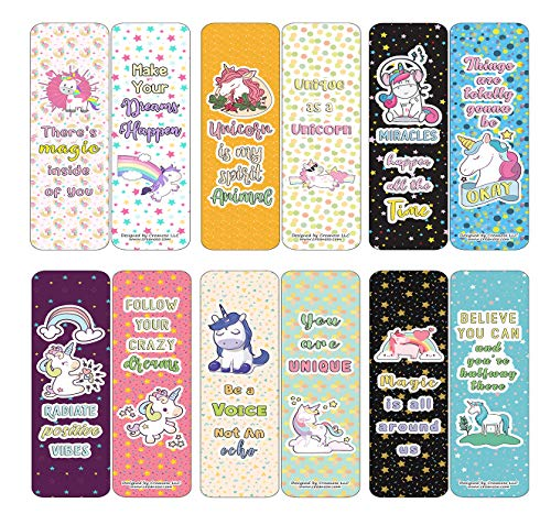 Creanoso Unicorn Bookmarks Cards Series 3 - Positive Affirmations (12-Pack) - Stocking Stuffers Premium Quality Gift Ideas for Children, Teens, & Adults - Corporate Giveaways & Party Favors
