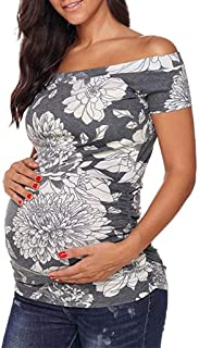 7a48001b2d0f8 Womens Maternity Tops Off Shoulder Short Sleeve T-Shirt Side Ruched Tunic  Tops Shirts Pregnancy