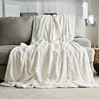 GRACED SOFT LUXURIES Softest Warm Elegant Cozy Faux Fur Home Throw Blanket (Solid Ivory, Extra Large 60
