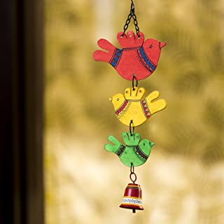 ExclusiveLane 'Birds and Bell' Garden Balcony Wall Decorative Hanging and Wind Chimes for Home with Good Sound (Metal and ...