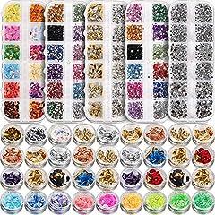 Nail Art Starter Kit: 1 Box Clear Mixed-size Nail Diamond + 1 Box 12 Color 3mm Nail Art Rhinestone + 1 Box 12 Color 5mm Nail Gems+ 1 Box 12 Color Flat leaf Studs + 1 Box Mixed-shape Nail Rivets rhinestones (silver/gold) + 12 boxes irregular candy col...
