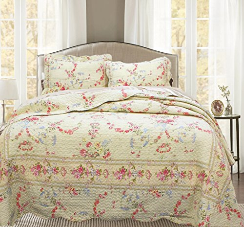 Cozy Line Home Fashions Rose Romance Khaki Cream Yellow Floral Blooming Flower Printed Cotton Quilt Bedding Set Reversible Coverlet Bedspread Gifts for Women(Rose Romance, Queen - 3 Piece)