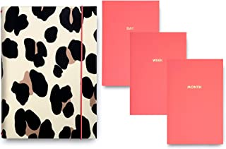 Kate Spade New York Leopard Print Undated Planner Folio Daily Weekly Monthly, Includes 3 Personal Organizer Notebooks with Leatherette Cover, Forest Feline