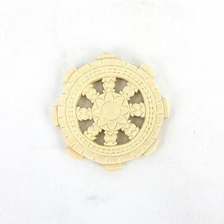 栗田仏像ブランド【法器】法輪(直径10cm)両面彫り 桧木製木彫仏具 28049