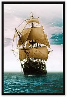 YB Moderno Pintura Minimalista Decorativa Suave navegación Corredor Pintura salón océano Azul Paisaje Caribe Vela Mural, 32cmX42cm, Marco PS