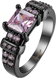 AWLY Jewelry Womens Black Gold Watch Design Princess Cut Pink Cubic Zirconia CZ Wedding Ring Size 6-9