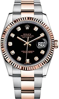 Rolex Datejust 36 Steel Rose Gold Watch Black Diamond Dial 116231