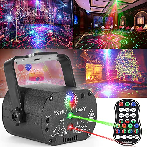 Party Lights Disco Lights, caivimvn Strobe Light Sound Activated LED DJ Lights Multiple Patterns Projector with Remote Control for Parties Home Show Bar Club Birthday DJ Pub Karaoke Christmas Holiday