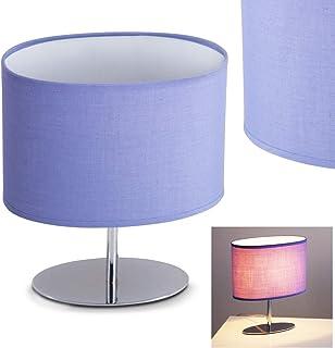 Lampe de table Wien en métal/textile en chrome/violet/blanc - Lampe de table rétro avec abat-jour ovale - Culot E14 max. 4...