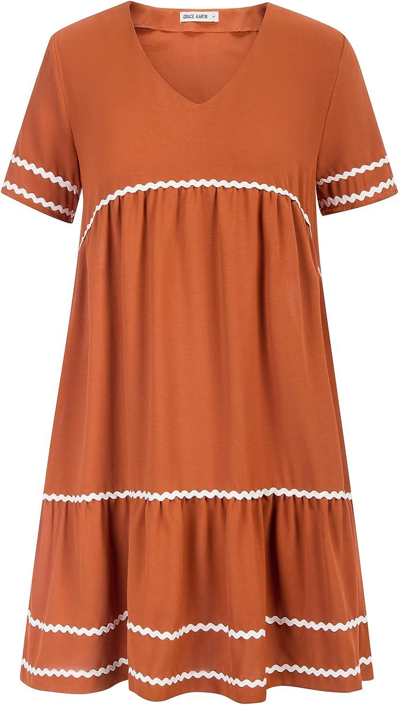 GRACE KARIN Women's V-Neck Short Sleeve Casual Loose Plain Tiered Swing Dress