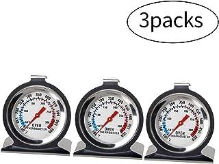 Termómetro para horno de cocina, horno, de esfera grande, termómetro, de acero inoxidable, para horno y ahumador, 3 unidades