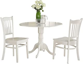 East West Furniture 3-Piece Kitchen Table Set, Linen White Finish