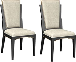 Bombay D2006SCU0130 Art Deco Hardwood Upholstered Dining Chairs, Set of 2, Black, Gold