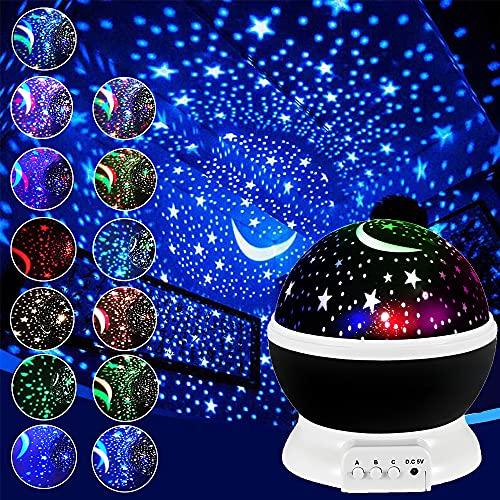 Luz Nocturna Infantil De Cielo Estrellado Para NiñOs Proyector Estrellas De Giratorio 360 Grados, LáMpara De Escritorio De 4 Leds, Luz Cambiante De 17 Colores, Regalo Bebe úNicos Para NiñOs (Black)