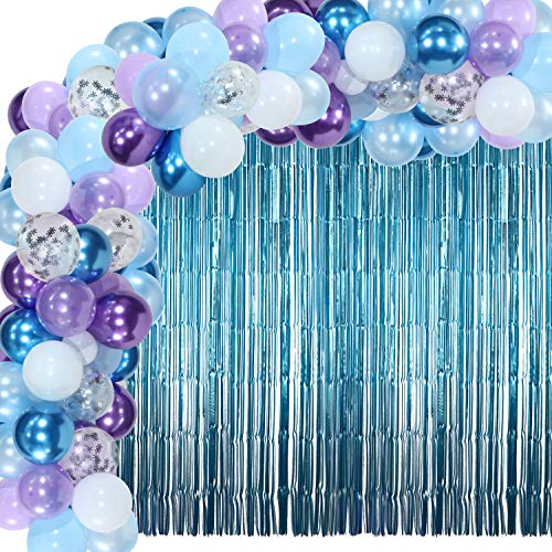 Arco de Guirnalda de Globos de Invierno de 110 Piezas Globos de Confeti de Copo de Nieve con 2 Cortinas de Oropel Metálico para Fiesta de Invierno Cumpleaños Temáticos de Frozen, Baby Shower