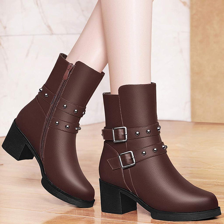 YIWU Damenschuhe 2019 Runde Britische Stiefelies Weiblich Plus Samt Halten Warm Starke Ferse Stiefel Weibliche Martin Stiefel (Größe   EU36 UK4 CN36)