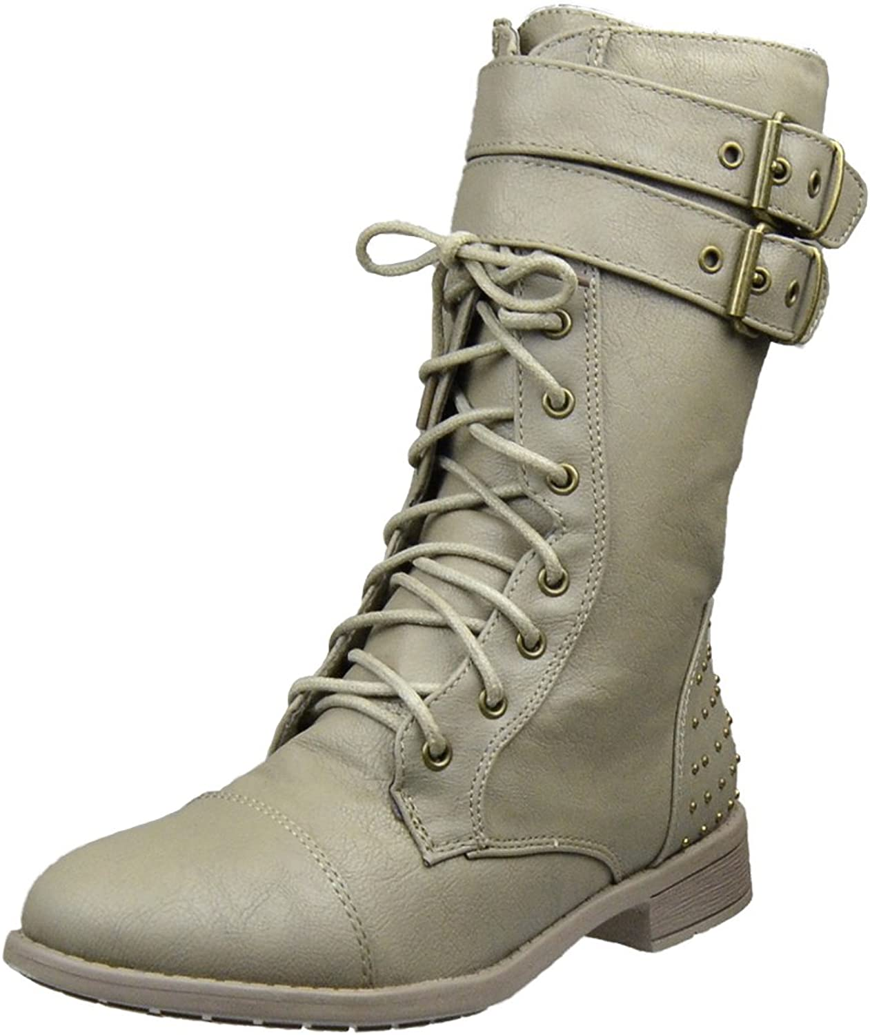 FL By KSC Womens Ankle Boots Buckle Accent Studs Lace Up Combat Boots