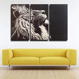 IMAX666 Tableau Multi Panneau 3 Parties Lion Noir Agressif Tableau Imprimé sur Toile,Tableau Imprimé XXL,Tableau Deco Mura...