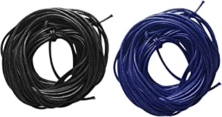 HOMYL 2 Pieces 10m Waxed Nylon Cord String Jewelry Making Cord Findings for Jewelry Making DIY Craft 1.5mm Black Blue