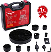 """Hole Saw Set, Meterk 17 Pcs Hole Saw Kit with 13Pcs Saw Blades, 2 Mandrels, 1 Installation Plate, 1 Hex Key, Max Size 6""""(152mm) and Min Size 3/4"""" (19mm), Ideal for Soft Wood, PVC Board and More"""