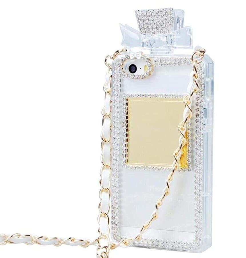 for Galaxy S9 Plus Case, Omio Charming Princess Perfume Bottle Cover with Necklace Neck & Wrist Chain String Luxury Bling 3D Handmade Shiny Glitter Crystal Diamonds Shell for Samsung Galaxy S9 Plus