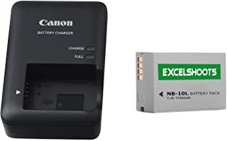 Excelshots, CB-2LC Battery Charger + NB-10L Li-ion Compatible Battery, for Canon PowerShot SX40 HS, SX50 HS, SX60 HS, G1X, G3X, G15, G16, Digital Camera.