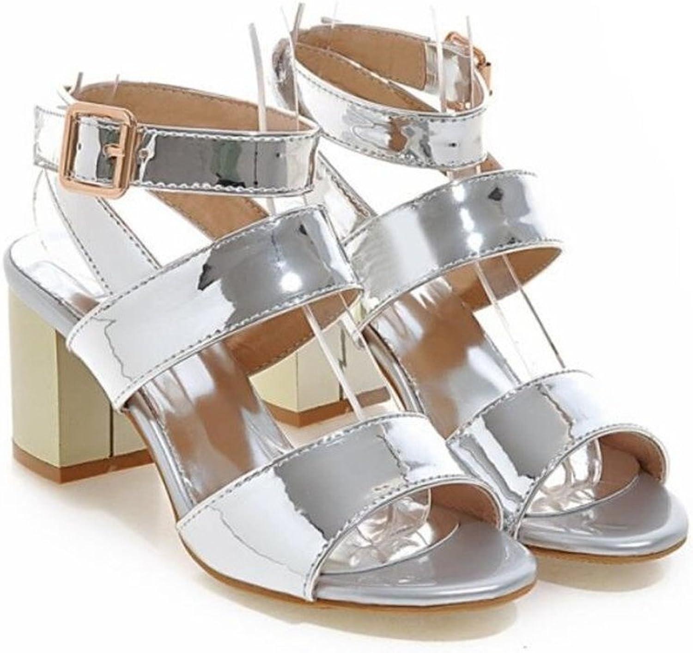 WEIQI-Damen Sandalen Metallgewebe Knchel Schnalle Grobe Ferse, Komfort Persnlichkeit, Shopping Partying, 6cm, 33-41