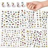 Qpout Pegatinas de uñas Apliques de uñas para Niñas, 600+diseños de animales dinosaurio de frutas calcomanías de flores pegatinas de uñas 3D para niños cumpleaños spa regalo de salón de bellez