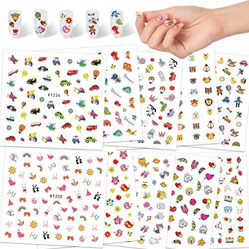 Qpout Nagelaufkleber Abziehbilder für Kinder Mädchen, 600+ Design Tier Frucht Dinosaurier Auto Blume Selbstklebende 3D Nagelaufkleber für Kinder Geburtstag Mitgebsel Tee Spa Party Nagel Salon Geschenk