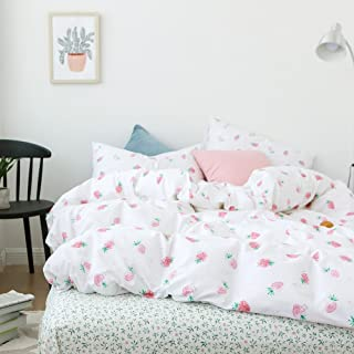 OTOB Cartoon Strawberry Print Girls Twin Bedding Duvet Cover Sets Cotton 100 Percent for Kids Toddler Teen Women Bed Colorful Reversible Teen Bedding Sets Twin Size Pink (Twin, Strawberry)