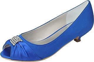 Vimedea Womens Kitten Heel Slip On Dress Pumps Bride Wedding Peep Toe 0700-09