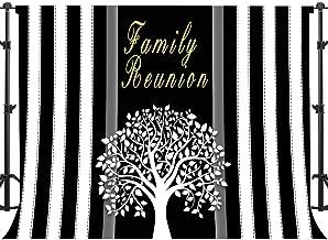 Family Reunion Events Backdrop Black and White Stripes Photography Background EARVO 7x5ft Photo Portrait Cotton Backdrop (Wrinkle Resistance) Photo Shoot Props HXEA170