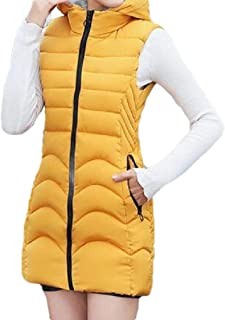 Womens with Hooded Thickened Sleeveless Down Mid Length Quilted Jacket Vest Tops