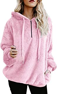 Women Hooded Sweatshirt Patchwork Winter Warm Wool Zipper Cotton Outwear Tops