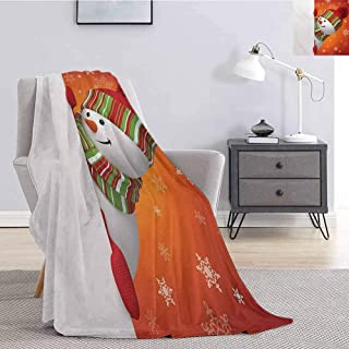 Luoiaax Christmas Fuzzy Blankets King Size Cute Snowman with Mittens and Hat and Scarf New Year Celebration Festive Design for Living Room Bed or Couch Blanket W54 x L72 Inch White Orange