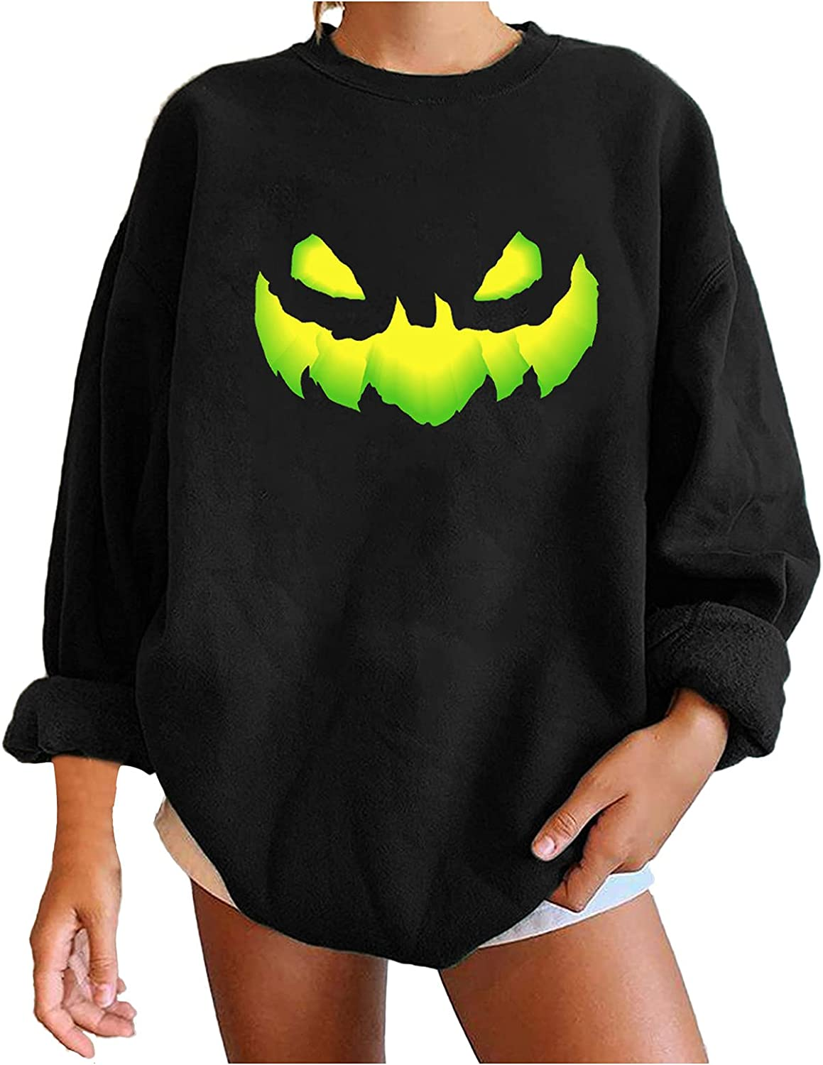 Women's Halloween Ranking TOP6 Pumpkin Face Graphic Pullover Limited time trial price Tops Lo Crewneck