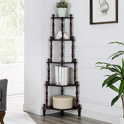 Bücherregal Ecke Dekor Display Regal, Blaume Stehen Massivholz Lagerung Organizer Rack, für Zuhause Schlafzimmer Wohnzimmer Büro (3 Farben)