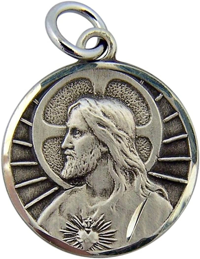 HMHReligiousMfg Sterling Silver His Most latest Round San Francisco Mall Scap Heart Sacred