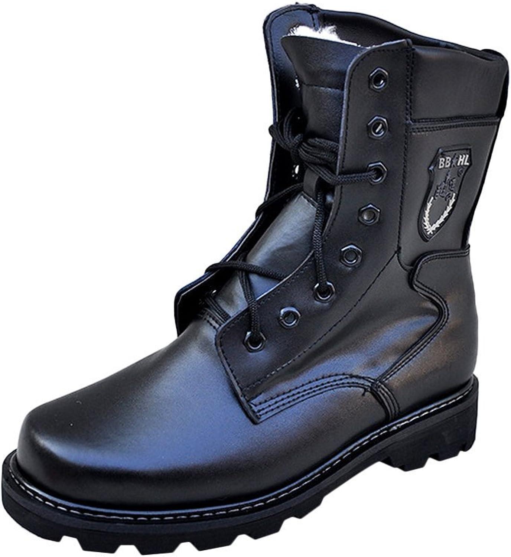 Liveinu Men's Military Lace up Mid Calf Combat Boot