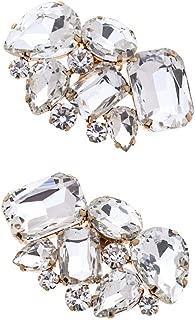 Casualfashion 2Pcs Luxury Crystal Shoe Clips Removable Rinestone Shoe Buckles Decorative Shoe Accessories for Women