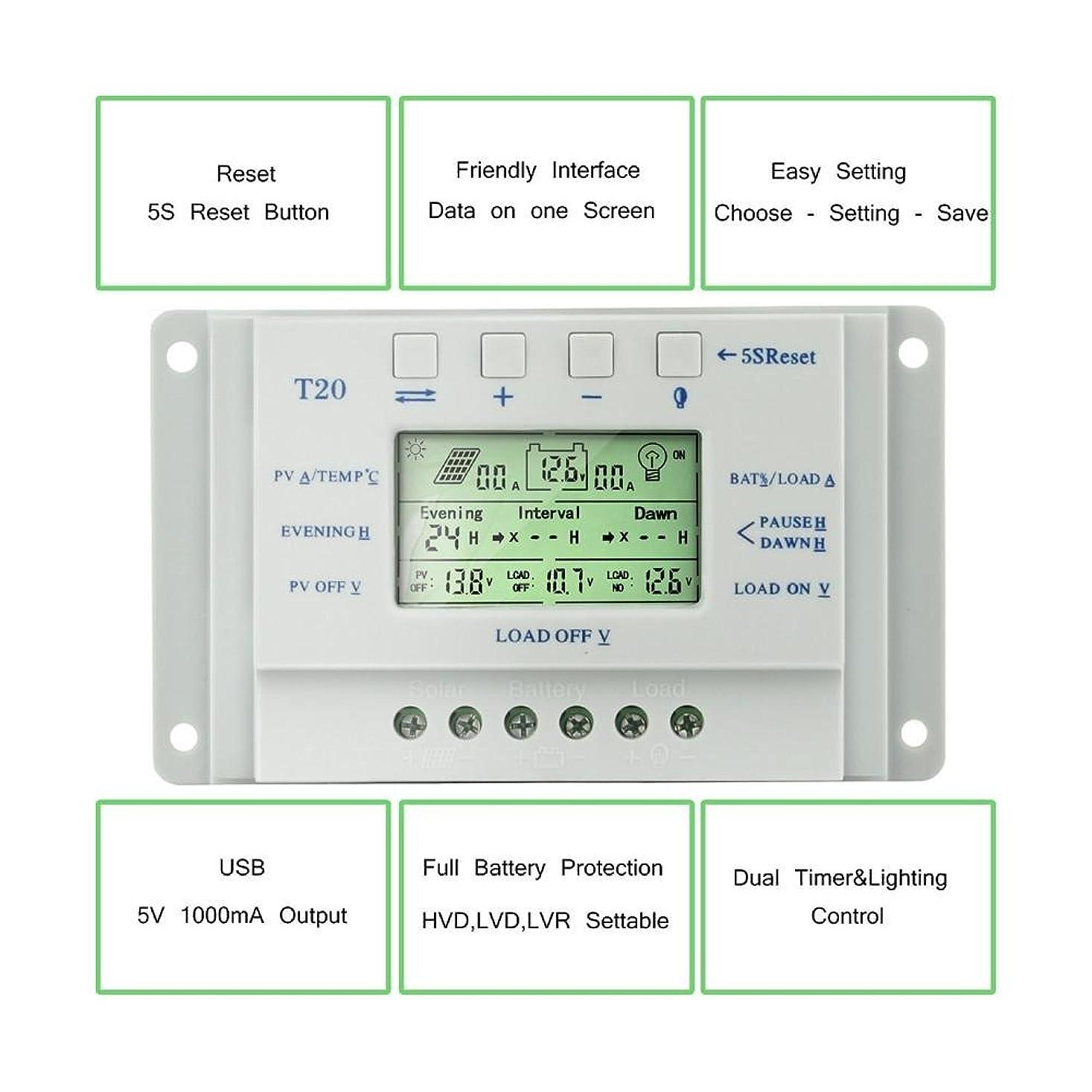 確実庭園詐欺MPPT充電コントローラ20A 40A 12V / 24Vソーラーパネルバッテリレギュレータ充電 ソーラー充電器コントローラ コントローラLCDディスプレイソーラー充電コントローラT20 T40
