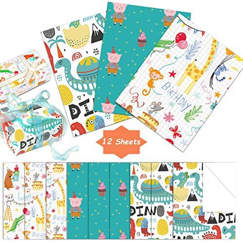 Geschenkpapier, Cartoon-Geburtstags-Geschenkpapier-Set, recycelbar, 12 Bögen Geschenkpapier, niedliches Dinosaurier-Schwein, Tier, Happy Birthday, Geschenkpapier für Kinder, Party und Babyparty