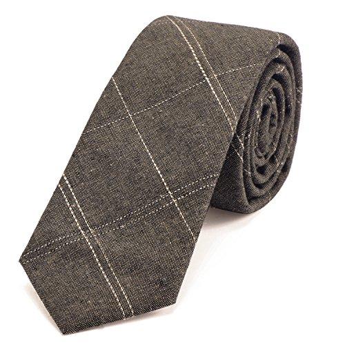 DonDon cravatta stretta a righe da uomo 6 cm cotone - marrone rigato